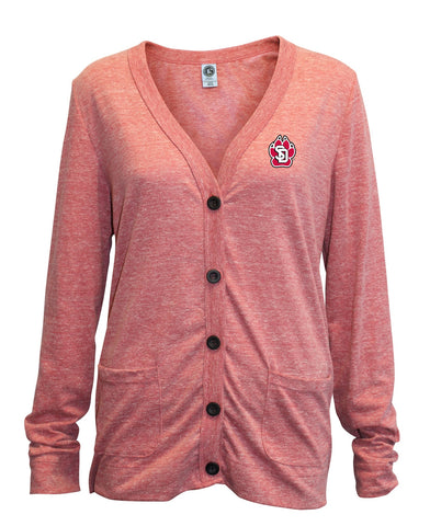 Red Cardigan Tri-Blend Left Chest SD Paw