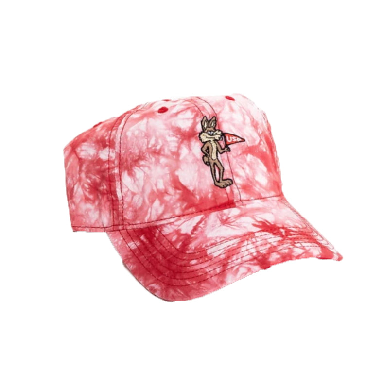 Tie Dye Red and White Hat with Vintage Charlie