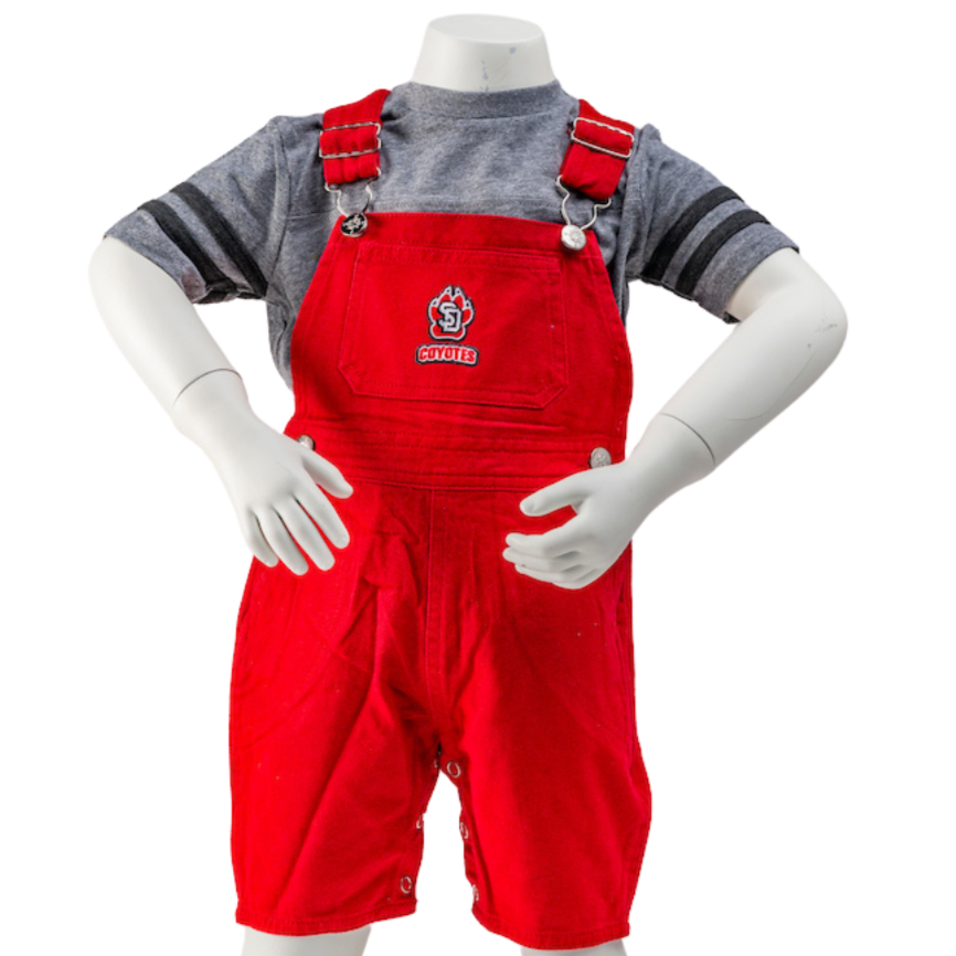 Toddler Youth Red Short Leg Overalls