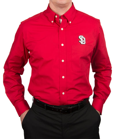 South Dakota Coyotes Red Dynasty Button-Up with Shadowed SD
