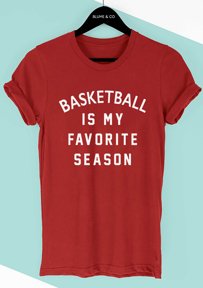 Unisex Red Tee Basketball Favorite Season
