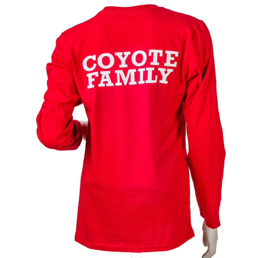 Load image into Gallery viewer, Unisex Tee Red Longsleeve with Hand and Coyotes Family Backprint