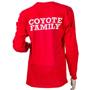 Unisex Tee Red Longsleeve with Hand and Coyotes Family Backprint