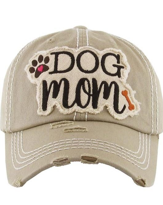 Vintage Distressed Baseball Cap 100% Cotton DOG MOM
