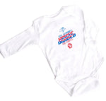 White SD House Divided Long Sleeve Onesie
