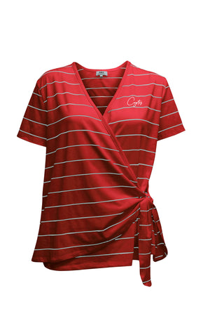 Women's Red and White Stripe Coyotes Side-tie Tee