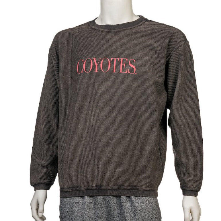 Women's Black Corded Crew with Red Yotes