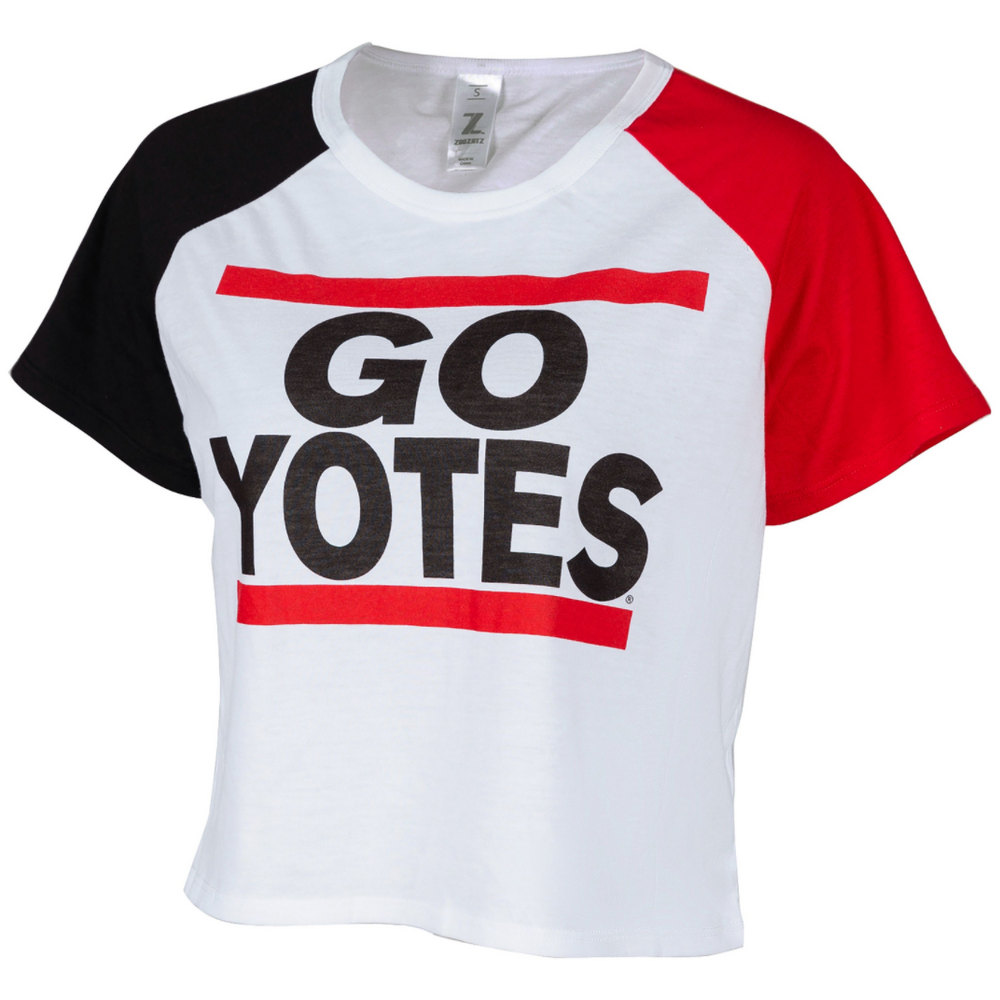Women's Cropped Tee With Red and Black Sleeves
