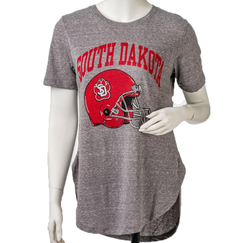 Women's Gray Triblend Jersey Tee with Rounded Hem South Dakota