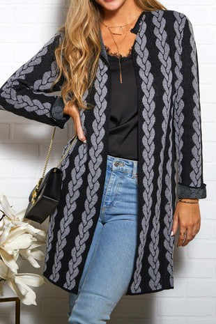 Women's Long Sleeve Pattern Sweater Cardigan