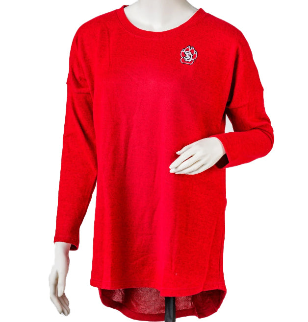 Women's Long Sleeve Red Heathered Top