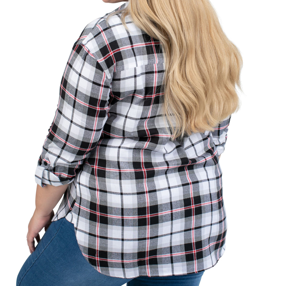 Women's Plaid Black Boyfriend Woven Shirt with Side Gussets