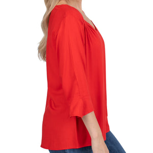 Women's Red Blouse with 3/4 Sleeves and Flared Cuff