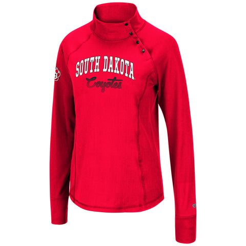 Women's Red Side Snap Long Sleeve with Mock Neck