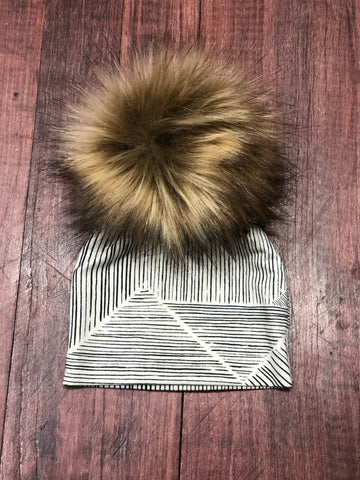 Youth Pom Hat with Stripes