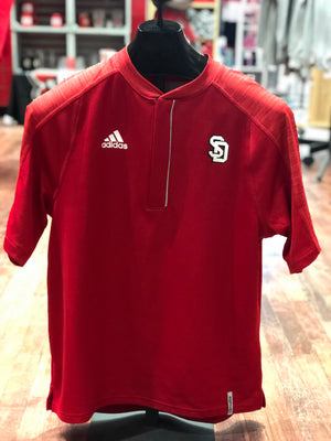 South Dakota 1/4 Zip Red Knit Short Sleeve