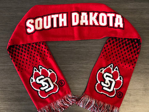 Scarf Black and Red South Dakota SD Paw