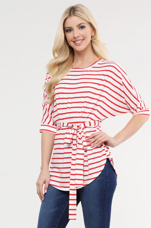 Women's Round Neck Dolman Sleeve Top With Waist Belt