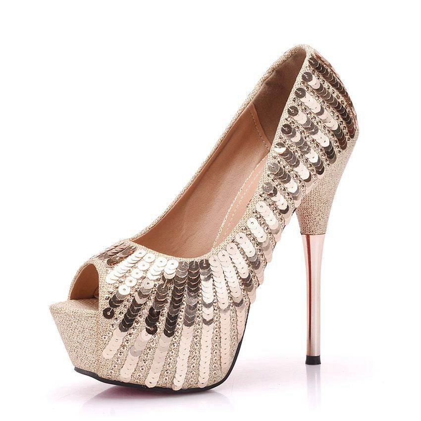 Bling High Heel Peep Toe Pumps