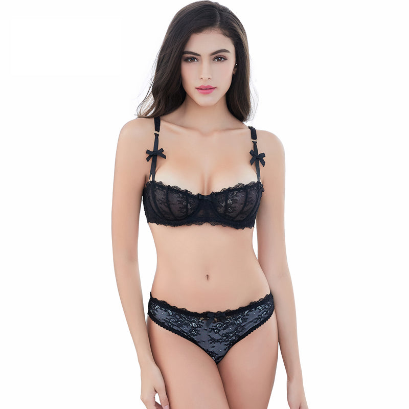 Ultra-Thin Transparent Half Cup Bra Set