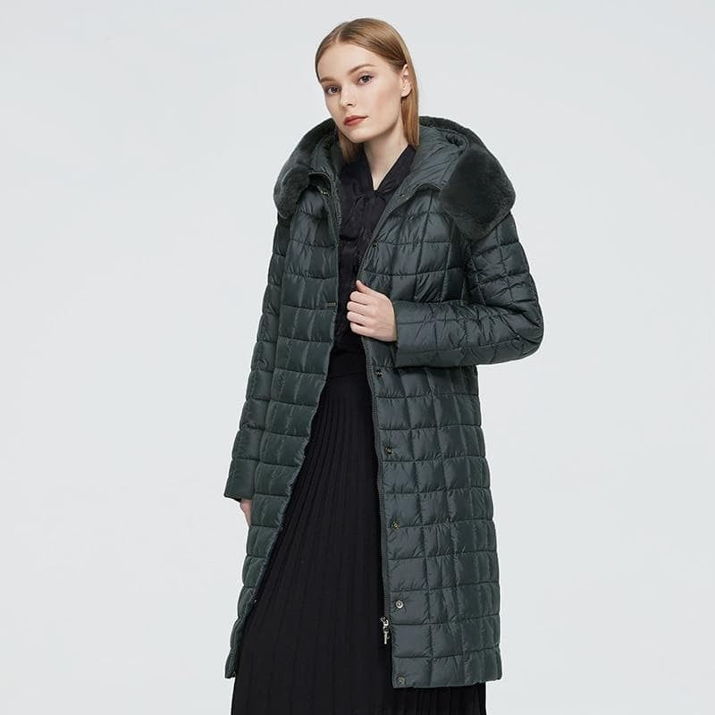 Rabbit Fur Hood Long Down Jacket
