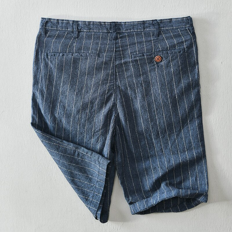 Cotton Linen Striped Straight Fit Casual Shorts