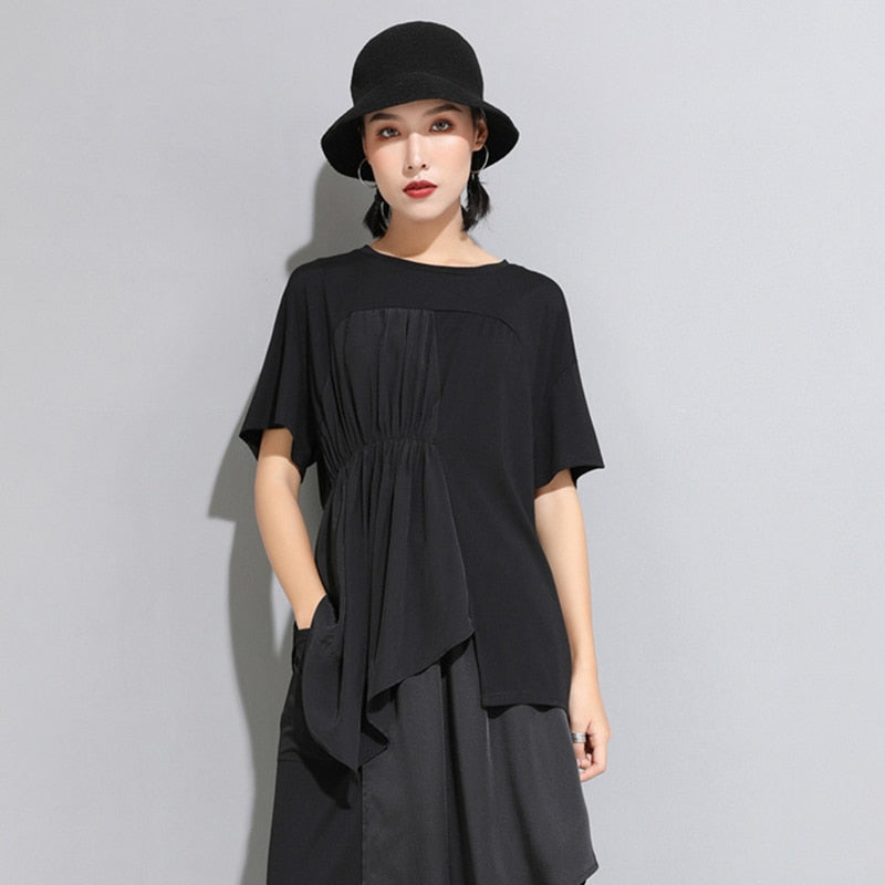 Short Sleeve Pleated Split Joint T-shirt