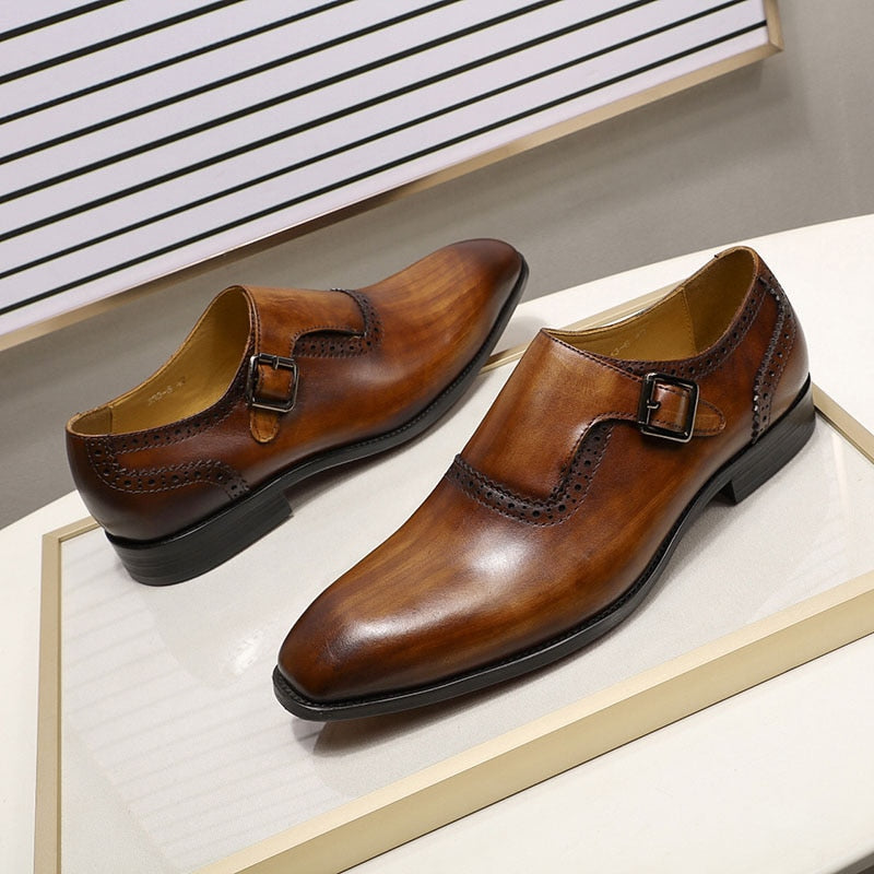 Genuine Leather Hand Painted Monk Strap Shoes