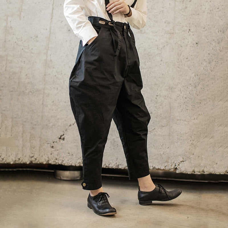 High Waist Black Three-dimensional Split Pants