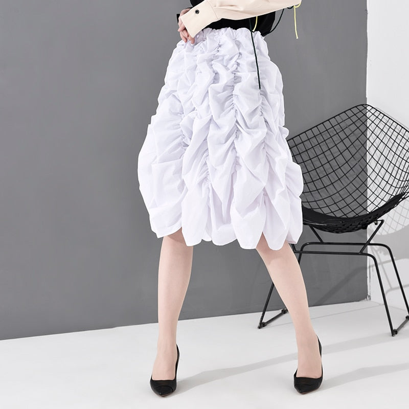 High Elastic Waist Pleated Stitch Temperament Skirt