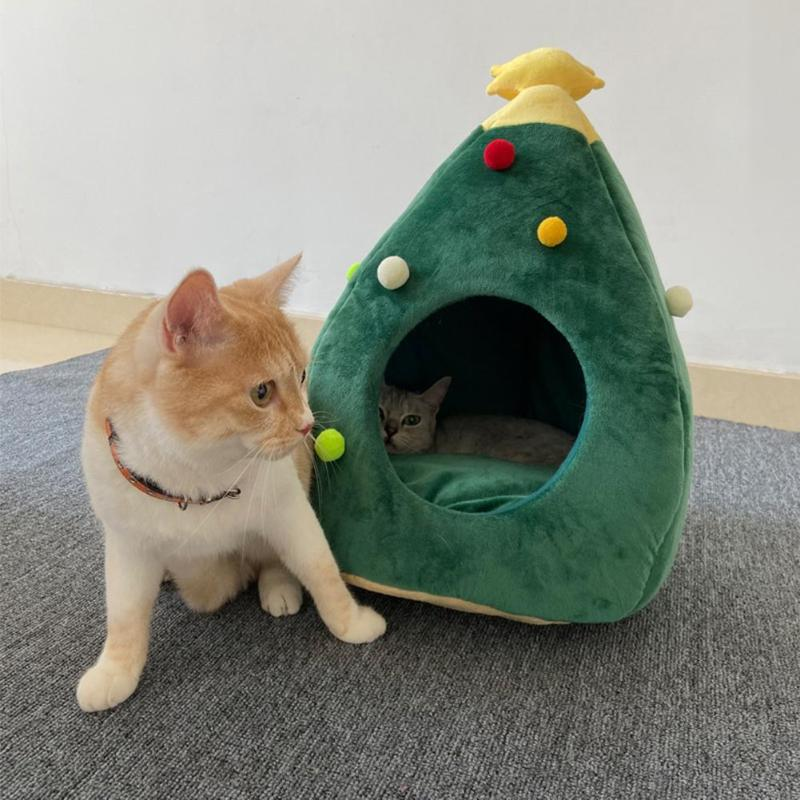 Christmas Tree Pet Cat/Dog Soft Winter Warm Kennel Bed