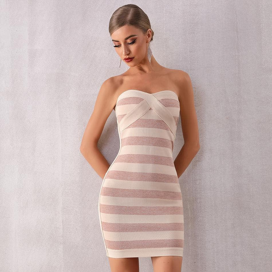 Strapless Striped Bodycon Club Dress