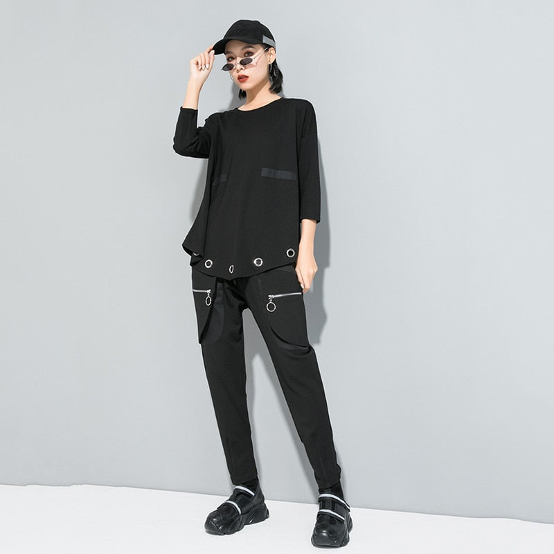 Hollow Out Split Asymmetrical T-shirt