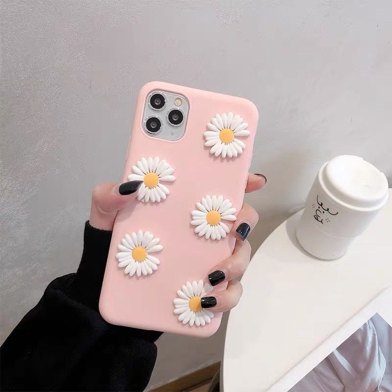 3D Daisy Soft Phone Case For OPPO