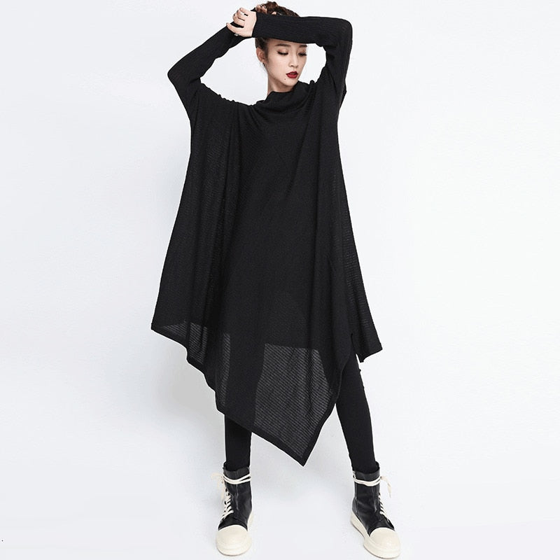 High Collar Long Sleeve Irregular Hem Dress