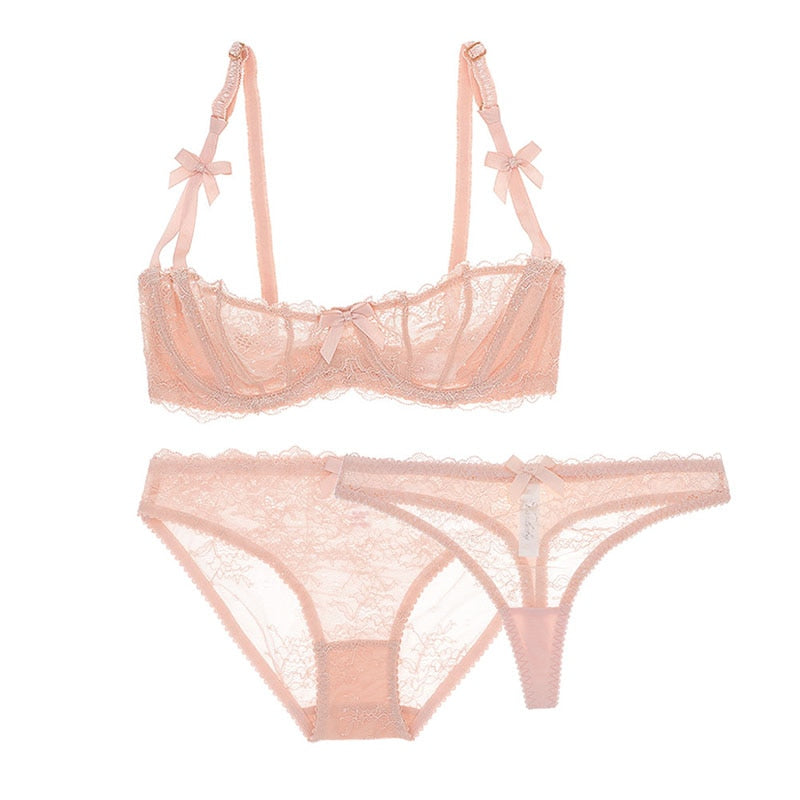 3 pcs Lingerie Set With Bra, Panties & Thongs