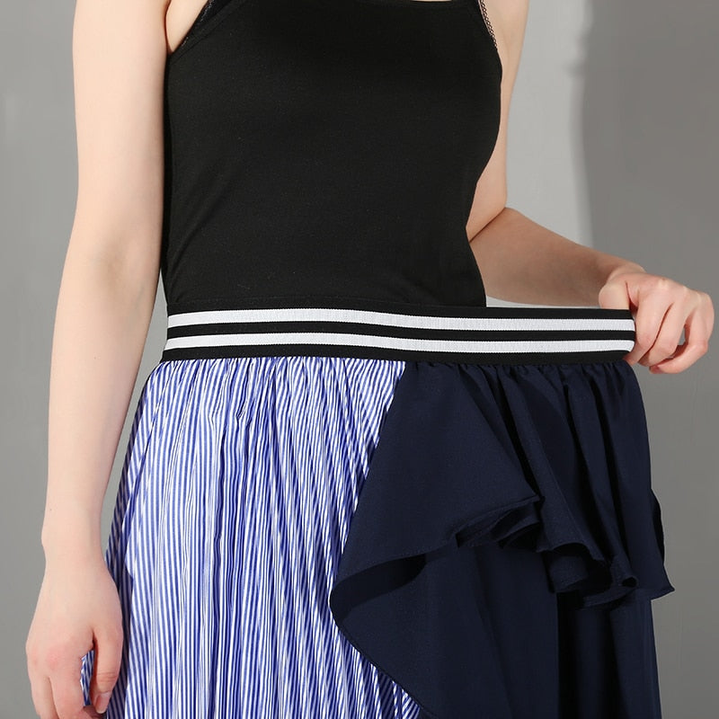 High Elastic Waist Ruffles Pleated Skirt