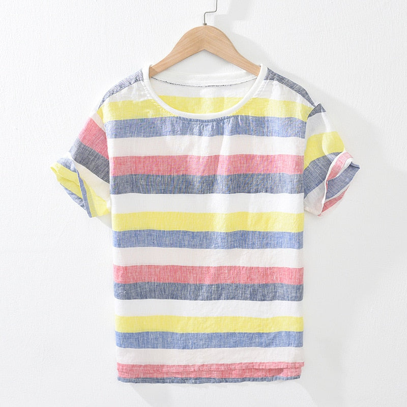 Pure Linen Striped Short Sleeve T-Shirt