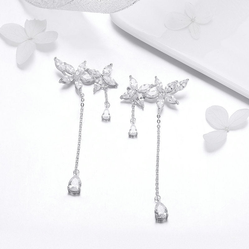Sterling Silver Crystal Long Chain Drop Earrings