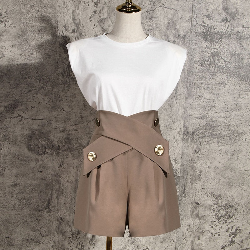 Cross Button Split Wide Leg Shorts