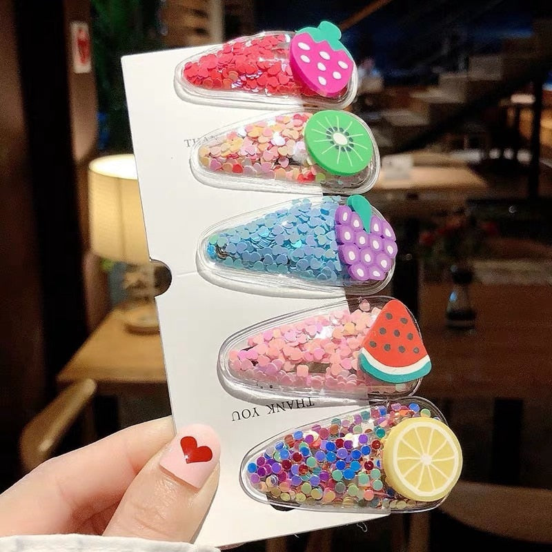 5pcs/set Cute Baby Sequins Hair Clips (A Size fits all PVC)