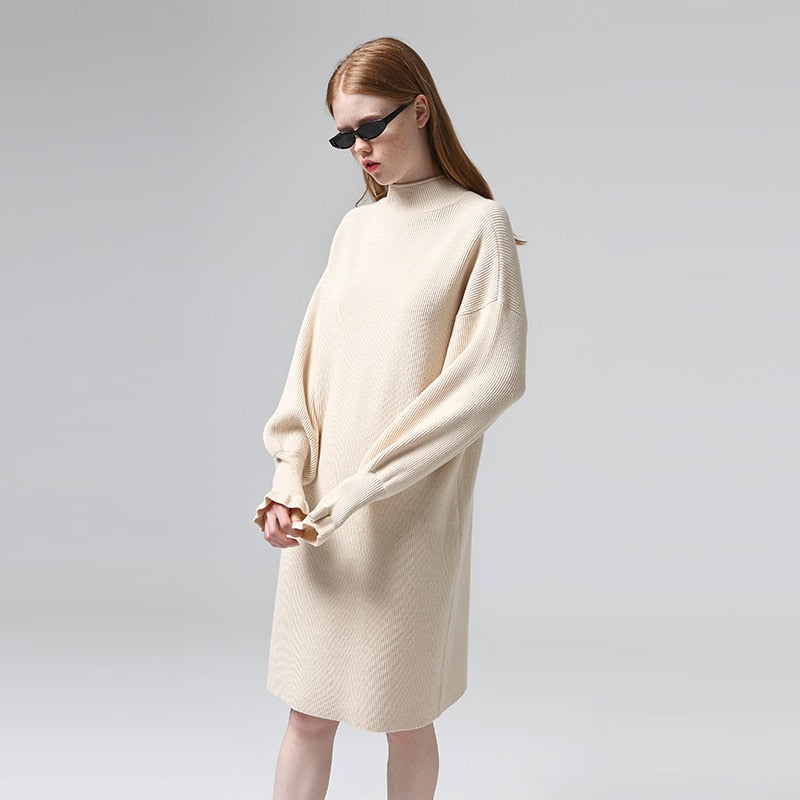 Knitted Long Sleeve Mini Sweater Dress