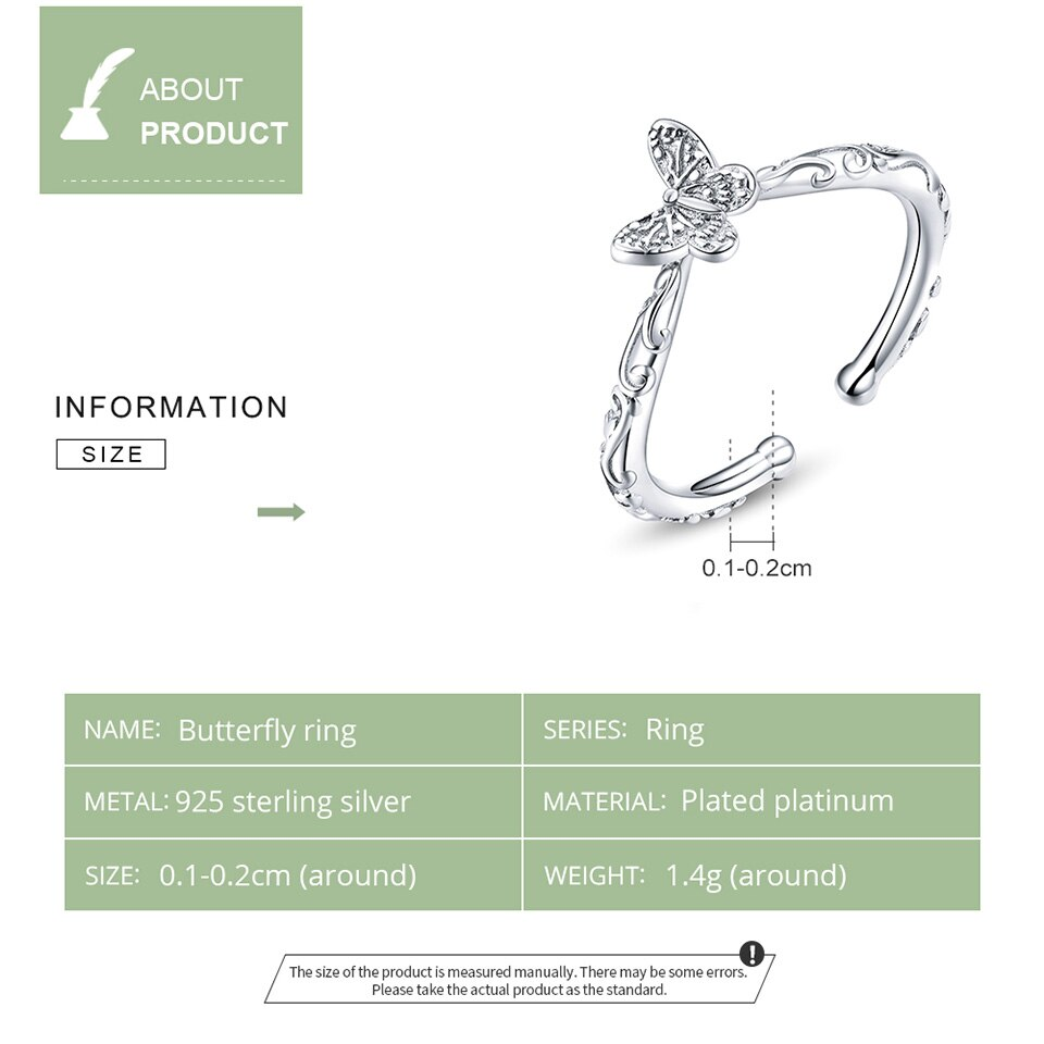 Butterfly 925 Sterling Silver Finger Ring