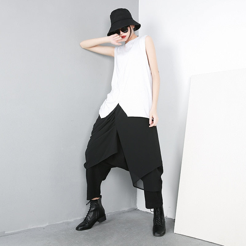 High Elastic Waist Spliced Chiffon Pants