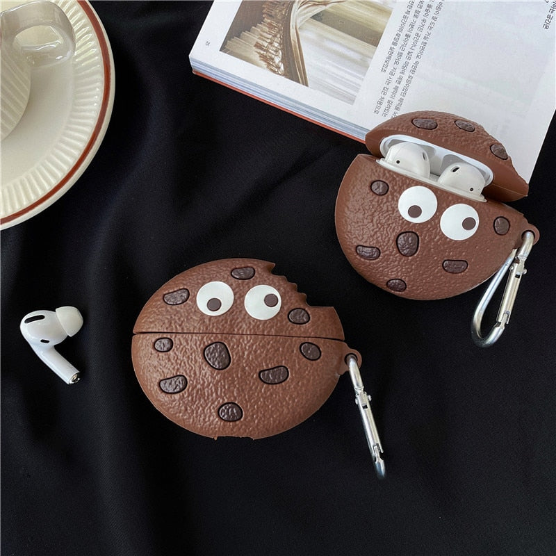 Chocolate-chip Cookies Shape Apple Airpods Silicone Case