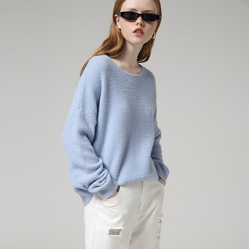 Solid Round Neck Long Sleeve Sweater