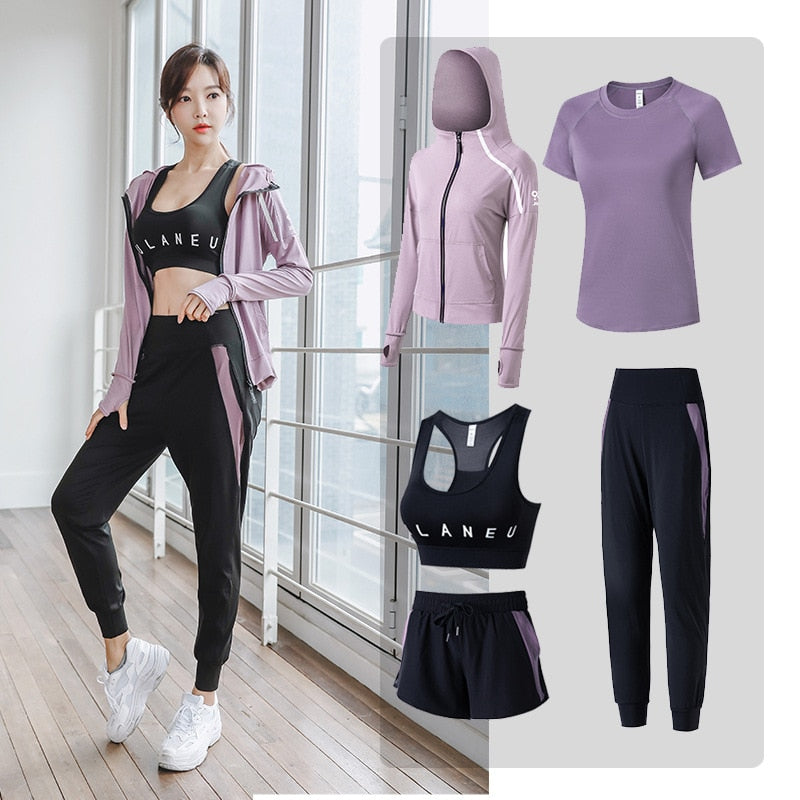 5 Pcs Breathable Sportswear With Sports Bra, Hoddie Jacket, T-shirt, Lower & Shorts