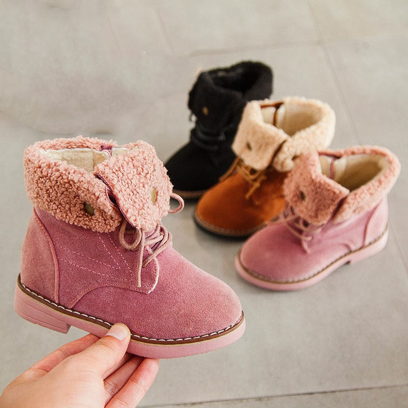 Warm Turned-over Edge Kids Ankle Boots