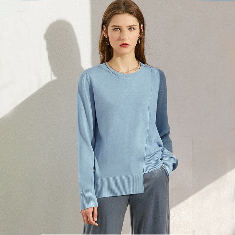 Spliced O-Neck Irregular Hem Pullover