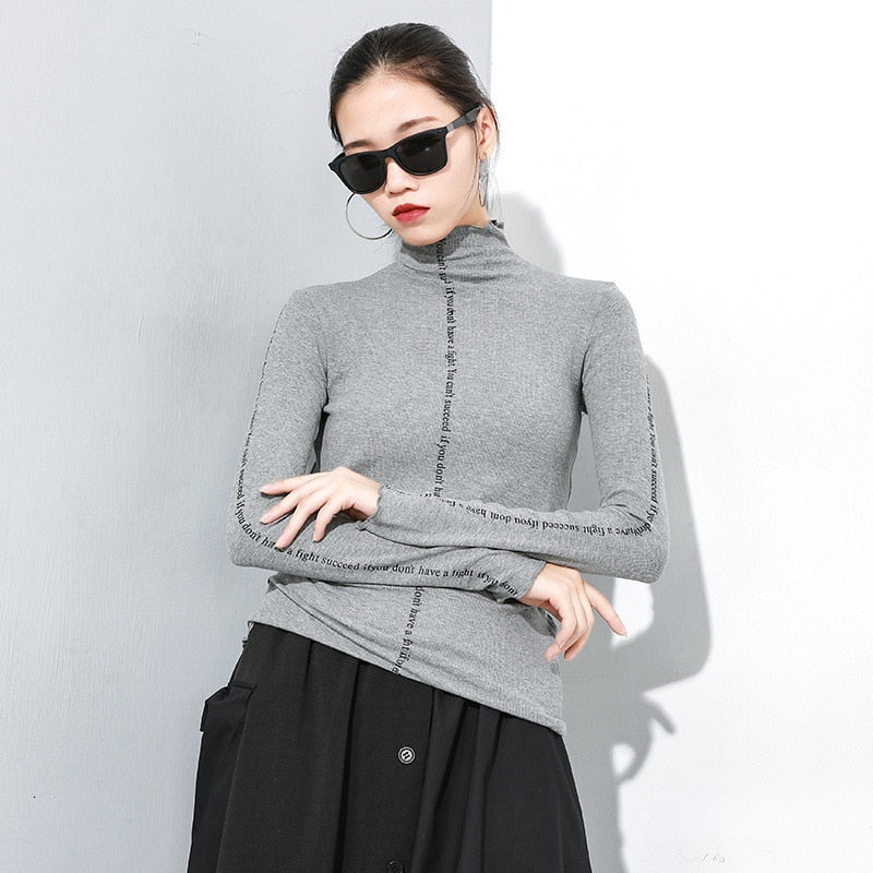 Knitting Turtleneck Long Sleeve Pullover